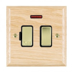 Hamilton Woods Ovolo Light Oak 1 Gang 13A Fused Spur, Double Pole + Neon with Black Insert