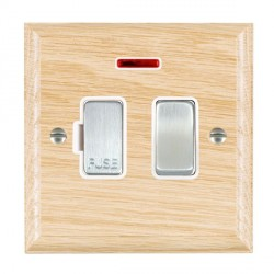 Hamilton Woods Ovolo Light Oak 1 Gang 13A Fused Spur, Double Pole + Neon with White Insert