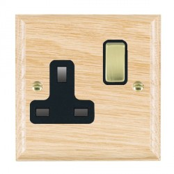 Hamilton Woods Ovolo Light Oak 1 Gang 13A Switched Socket with Black Insert