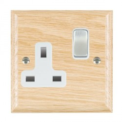 Hamilton Woods Ovolo Light Oak 1 Gang 13A Switched Socket with White Insert