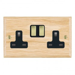 Hamilton Woods Ovolo Light Oak 2 Gang 13A Switched Socket with Black Insert & Polished Brass Switches