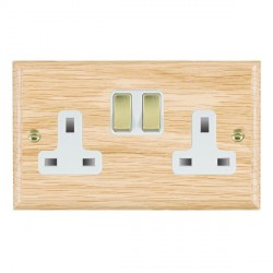 Hamilton Woods Ovolo Light Oak 2 Gang 13A Switched Socket with White Insert