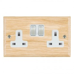 Hamilton Woods Ovolo Light Oak 2 Gang 13A Switched Socket with White Insert & Satin Steel Switches