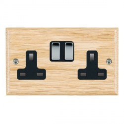 Hamilton Woods Ovolo Light Oak 2 Gang 13A Switched Socket with Black Insert