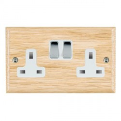 Hamilton Woods Ovolo Light Oak 2 Gang 13A Switched Socket with White Insert & Bright Chrome Switches