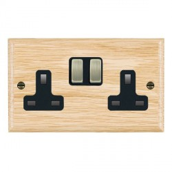 Hamilton Woods Ovolo Light Oak 2 Gang 13A Switched Socket with Black Insert & Antique Brass Switches