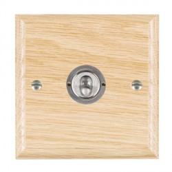 Hamilton Woods Ovolo Light Oak 1 Gang 2 Way Toggle with Satin Chrome Insert
