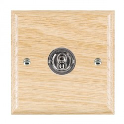 Hamilton Woods Ovolo Light Oak 1 Gang 2 Way Toggle with Bright Chrome Insert