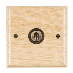 Hamilton Woods Ovolo Light Oak 1 Gang 2 Way Toggle with Antique Brass Insert