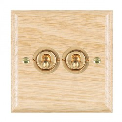 Hamilton Woods Ovolo Light Oak 2 Gang 2 Way Toggle with Polished Brass Insert