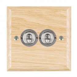 Hamilton Woods Ovolo Light Oak 2 Gang 2 Way Toggle with Satin Chrome Insert