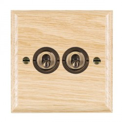 Hamilton Woods Ovolo Light Oak 2 Gang 2 Way Toggle with Antique Brass Insert