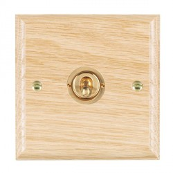 Hamilton Woods Ovolo Light Oak 1 Gang Intermediate Toggle with Polished Brass Insert