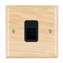 Hamilton Woods Ovolo Light Oak 1 Gang Telephone Slave Outlet with Black Insert