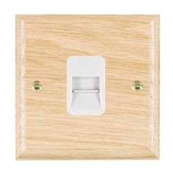 Hamilton Woods Ovolo Light Oak 1 Gang Telephone Slave Outlet with White Insert