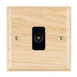 Hamilton Woods Ovolo Light Oak 1 Gang Non Isolated TV 1 in/1 Out Outlet with Black Insert