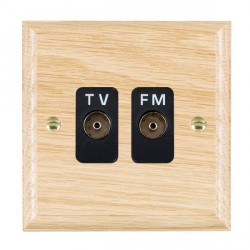 Hamilton Woods Ovolo Light Oak 2 Gang Isolated TV/FM 1 in/2 out Outlet with Black Insert
