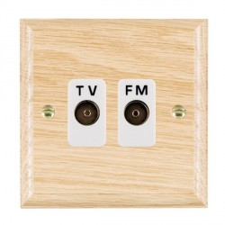 Hamilton Woods Ovolo Light Oak 2 Gang Isolated TV/FM 1 in/2 out Outlet with White Insert