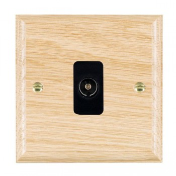 Hamilton Woods Ovolo Light Oak 1 Gang Isolated TV 1 in/1 out Outlet with Black Insert
