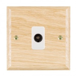 Hamilton Woods Ovolo Light Oak 1 Gang Isolated TV 1 in/1 out Outlet with White Insert