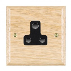 Hamilton Woods Ovolo Light Oak 1 Gang 5A Unswitched Socket with Black Insert