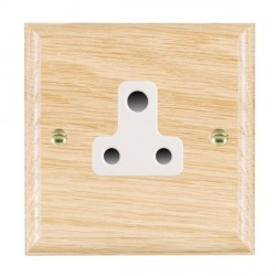 Hamilton Woods Ovolo Light Oak 1 Gang 5A Unswitched Socket with White Insert