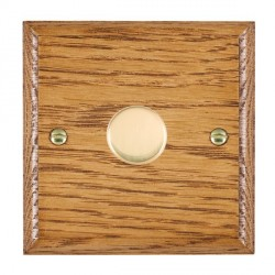 Hamilton Woods Ovolo Medium Oak 1 Gang 2 way 300VA Dimmer with Polished Brass Insert
