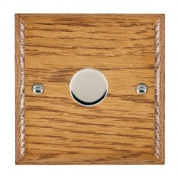 Hamilton Woods Ovolo Medium Oak 1 Gang 2 way 300VA Dimmer with Bright Chrome Insert