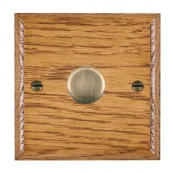 Hamilton Woods Ovolo Medium Oak 1 Gang 2 way 300VA Dimmer with Antique Brass Insert