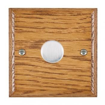 Hamilton Woods Ovolo Medium Oak 1 Gang 2 way 600W Dimmer with Satin Chrome Insert