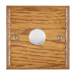 Hamilton Woods Ovolo Medium Oak 1 Gang Multi-way 250W/VA Dimmer with Satin Chrome Insert