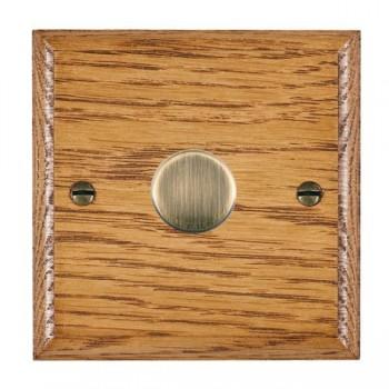 Hamilton Woods Ovolo Medium Oak 1 Gang Multi-way 250W/VA Dimmer with Antique Brass Insert