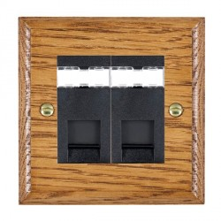 Hamilton Woods Ovolo Medium Oak 2 Gang RJ45 Cat 5E Unshielded Outlet with Black Insert