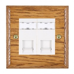 Hamilton Woods Ovolo Medium Oak 2 Gang RJ45 Cat 5E Unshielded Outlet with White Insert