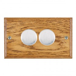 Hamilton Woods Ovolo Medium Oak 2 Gang 2 way 400W Dimmer with Satin Chrome Insert