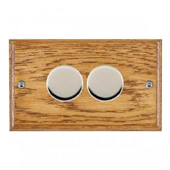 Hamilton Woods Ovolo Medium Oak 2 Gang 2 way 400W Dimmer with Bright Chrome Insert
