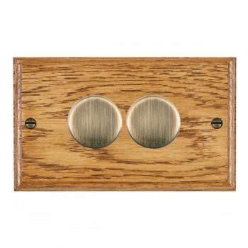 Hamilton Woods Ovolo Medium Oak 2 Gang 2 way 400W Dimmer with Antique Brass Insert