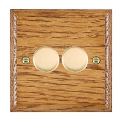 Hamilton Woods Ovolo Medium Oak 2 Gang Multi-way 250W/VA Dimmer with Polished Brass Insert