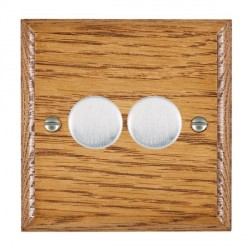 Hamilton Woods Ovolo Medium Oak 2 Gang Multi-way 250W/VA Dimmer with Satin Chrome Insert