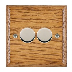 Hamilton Woods Ovolo Medium Oak 2 Gang Multi-way 250W/VA Dimmer with Bright Chrome Insert