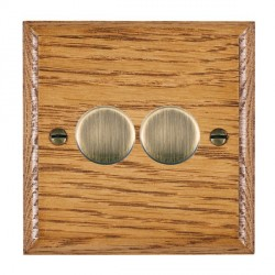 Hamilton Woods Ovolo Medium Oak 2 Gang Multi-way 250W/VA Dimmer with Antique Brass Insert