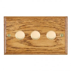 Hamilton Woods Ovolo Medium Oak 3 Gang 2 way 400W Dimmer with Polished Brass Insert