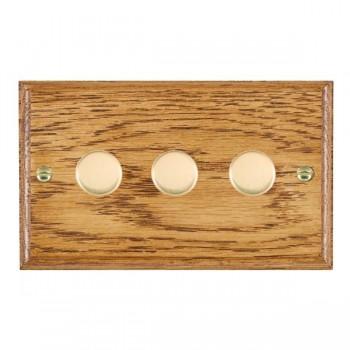 Hamilton Woods Ovolo Medium Oak 3 Gang 2 way 400W Dimmer with Polished Brass Insert