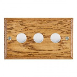 Hamilton Woods Ovolo Medium Oak 3 Gang Multi-way 250W/VA Dimmer with Satin Chrome Insert