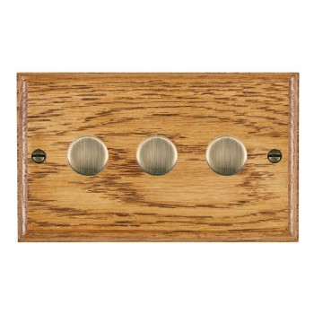 Hamilton Woods Ovolo Medium Oak 3 Gang Multi-way 250W/VA Dimmer with Antique Brass Insert
