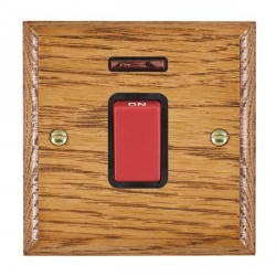 Hamilton Woods Ovolo Medium Oak 1 Gang 45A Double Pole Red + Neon Rocker with Black Insert