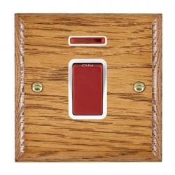 Hamilton Woods Ovolo Medium Oak 1 Gang 45A Double Pole Red + Neon Rocker with White Insert