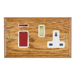 Hamilton Woods Ovolo Medium Oak 1 Gang 45A Double Pole Red + Neon + 1 Gang 13A Switched Socket with White...