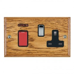 Hamilton Woods Ovolo Medium Oak 1 Gang 45A Double Pole Red + Neon + 1 Gang 13A Switched Socket with Black Insert