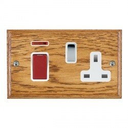 Hamilton Woods Ovolo Medium Oak 1 Gang 45A Double Pole Red + Neon + 1 Gang 13A Switched Socket with White Insert